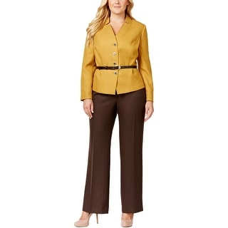 Tahari ASL Womens Plus Alina Pant Suit Herringbone 2PC