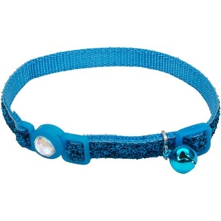 Safe Cat Jeweled Buckle Breakaway Collar W/Glitter Overlay-B - Blue Lagoon
