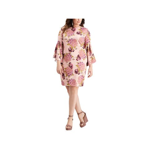 Betsey Johnson Womens Plus Cocktail Dress Boat Neck Floral