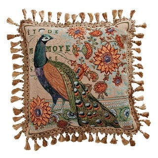 "Green Tail Peacock Decorative Throw Pillow - 17"" X 17"""