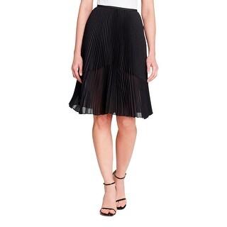 DKNYC Womens Pleated Skirt Chiffon Pleated