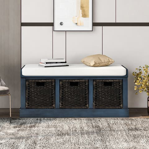 Storage Bench with 3 Removable Fabric Basket and Removable Cushion
