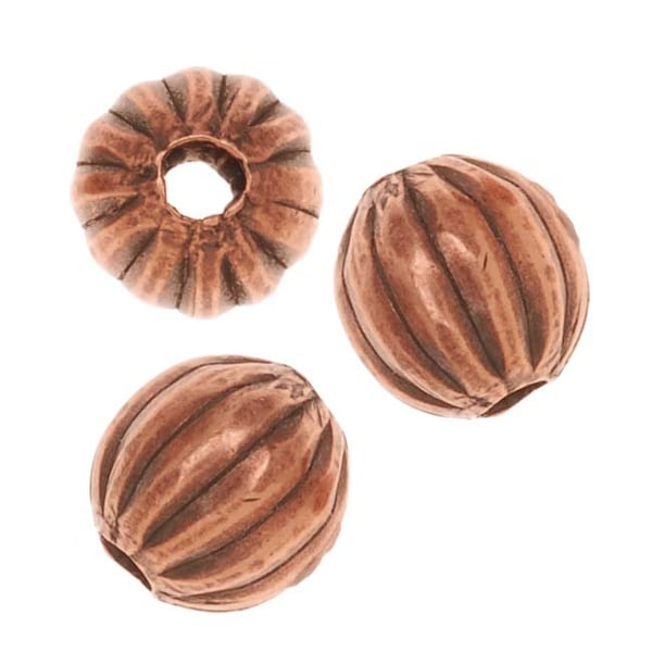 Genuine Antiqued Copper Fluted Round Metal Beads 6.3mm (24)