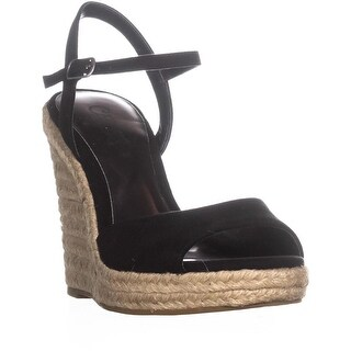 Carlos Carlos Santana Lillith Peep Toe Wedge Sandals, Black