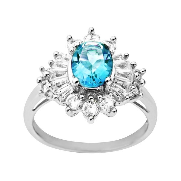 2 5/8 ct Blue Topaz and White Sapphire Ring in Sterling Silver