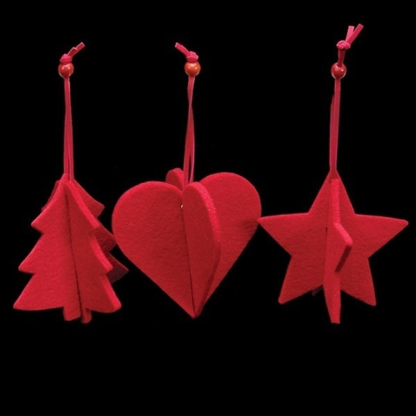 Club Pack of 15 Bright Red Tree, Heart And Star 3D Felt Ornaments