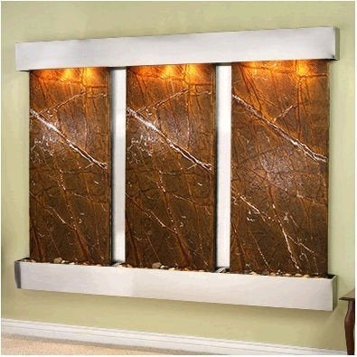 Adagio Deep Creek Falls Wall Fountain Rainforest Brown Marble Stainless Steel -