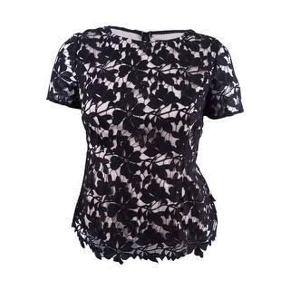 a1130922b30d9d Alex Evenings Women s Floral Lace Two-Tone Blouse - Black Nude
