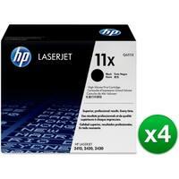 HP 11X Black Original LaserJet Toner Cartridge (Q6511X)(4-Pack)