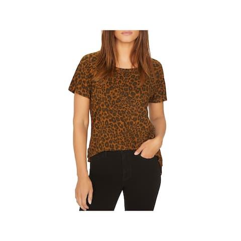Sanctuary Womens T-Shirt Animal Print Short Sleeves