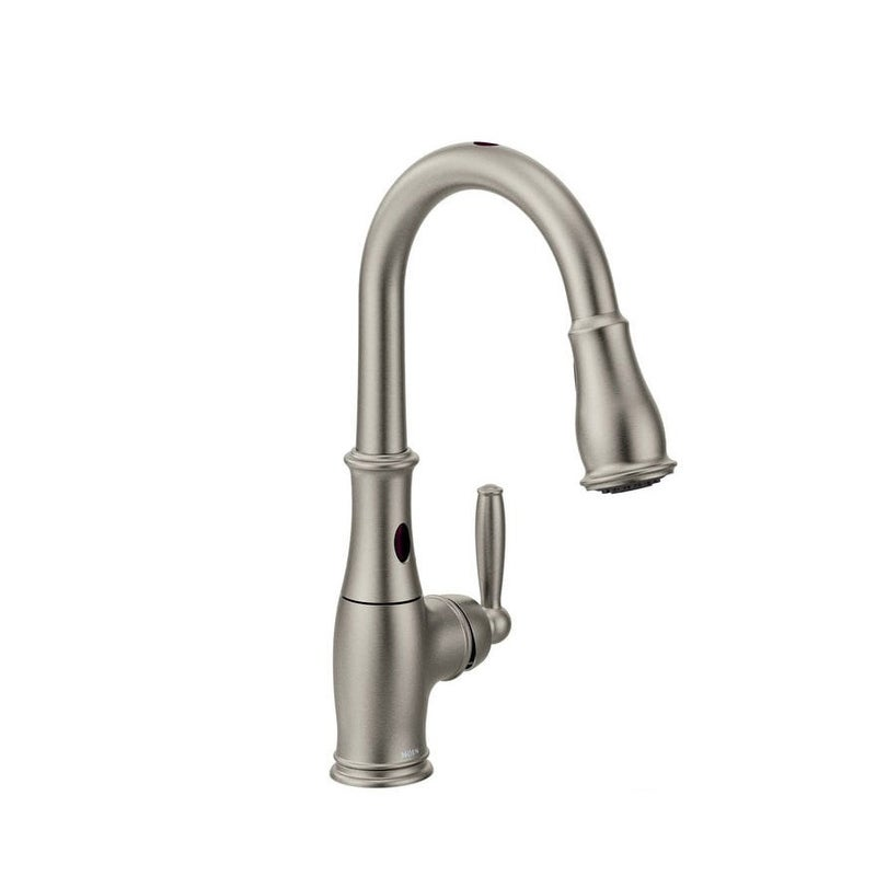 Moen 7185e Brantford Single Handle Touchless Pullout Spray Kitchen Overstock 17031928 Chrome