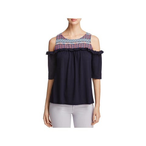 Love Scarlett Womens Casual Top Cold Shoulder Mixed Media