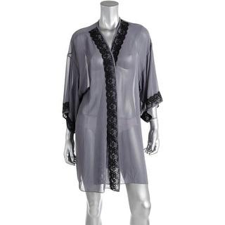 Flora Nikrooz Womens Lace Trim Open Front Short Robe - L