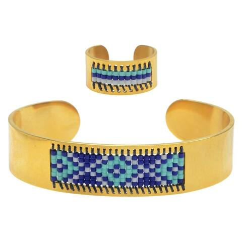 Beaded Centerline Bracelet and Ring Set - Santa Cruz - Exclusive Beadaholique Jewelry Kit