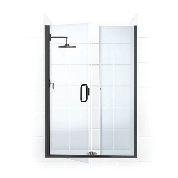 """Coastal Shower Doors HC46IL.75-C Illusion Series 46"""" x 75"""" Frameless Shower Door and Inline Panel with C-Pull Handle and Clear"""