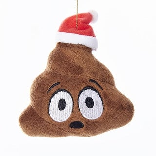 """Pack of 12 Brown Decorative Emoticon Poo Plush Ornaments with Red Hat 3.5"""""""