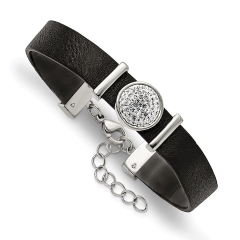 Chisel Stainless Steel Polished Leather with Preciosa Crystal with 1.25 Inch Extension 7 Inch Bracelet