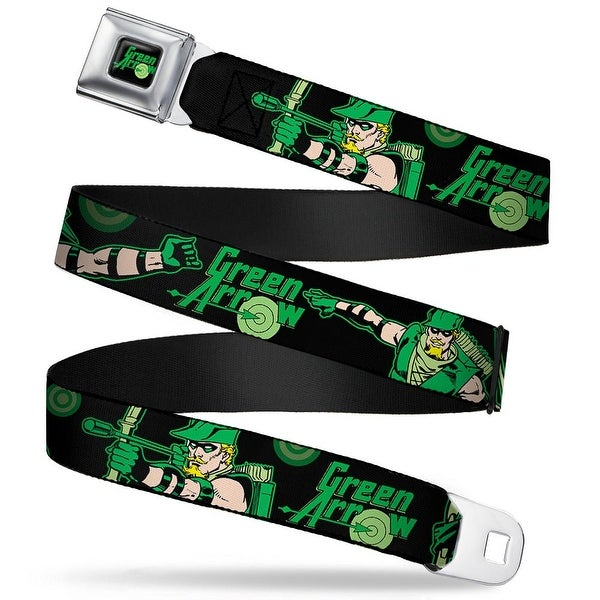 Green Arrow Logo Full Color Black Green Arrow Action Poses Targets Black Seatbelt Belt