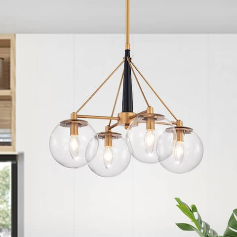 Fidel Matte Black+Gold 4-Light Chandelier with Clear Glass Globe Shades
