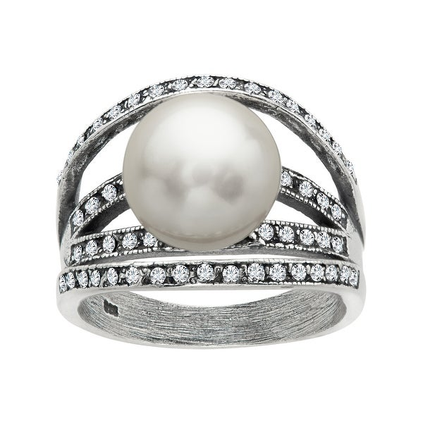 Van Kempen Art Deco Pearl Arch Ring with Swarovski Elements Crystals in Sterling Silver