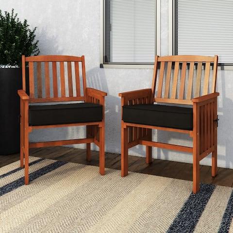 CorLiving Miramar Natural Hardwood Outdoor Armchair Set, 2pc - N/A