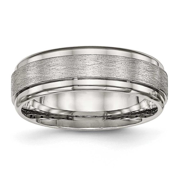 Stainless Steel Brushed and Polished Ridged Edge Ring (7 mm) - Sizes 7 - 13