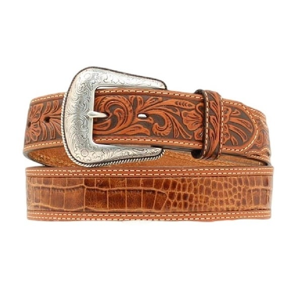 Nocona Western Belt Mens Gator Print Leather Rich Earth