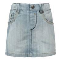 Richie House Girls' Classic Blue Denim Skirt with Elastic Waistband