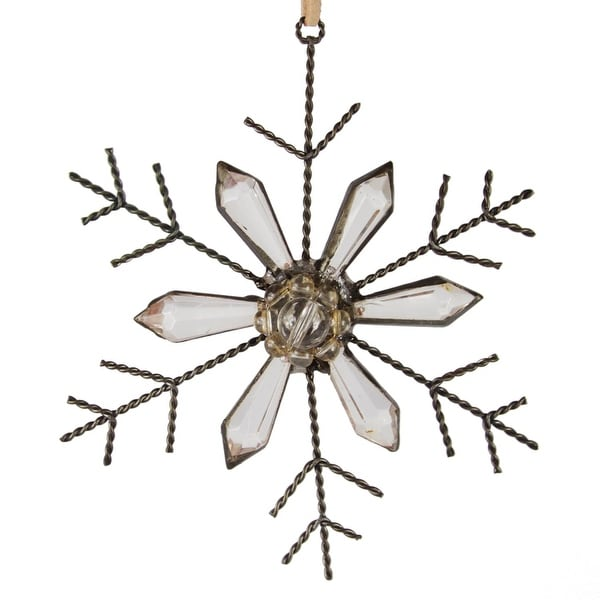 """5"""" Silent Luxury Rustic Jeweled Faceted Tip Snowflake Christmas Ornament"""