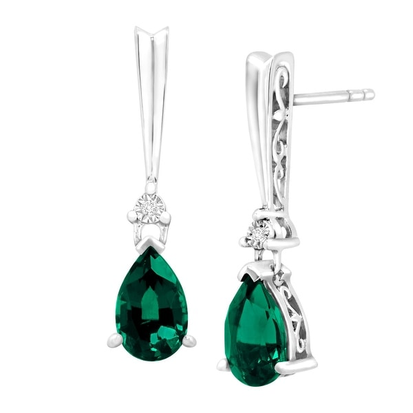 1 3/4 ct Created Emerald Drop Earrings with Diamonds in Sterling Silver - Green