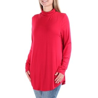 Womens Red Long Sleeve Turtle Neck Casual Tunic Top Size L