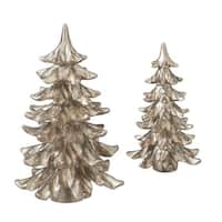 Set of 2 Brown Glittery Finish Christmas Tree Tabletop Decorations 10.5""