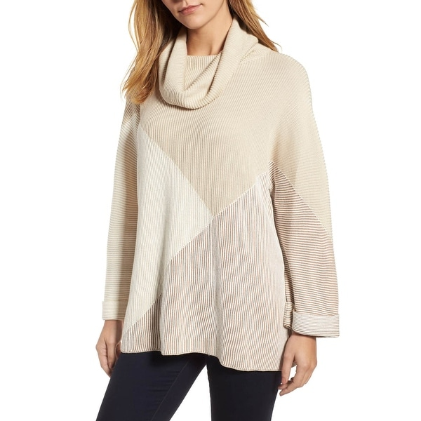 Nic + Zoe Women's Large Ribbed Cowl Neck Sweater