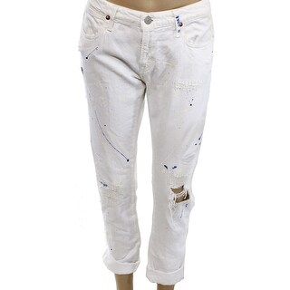 Polo Ralph Lauren NEW Paint White Womens 27 Distressed Boyfriend Jeans