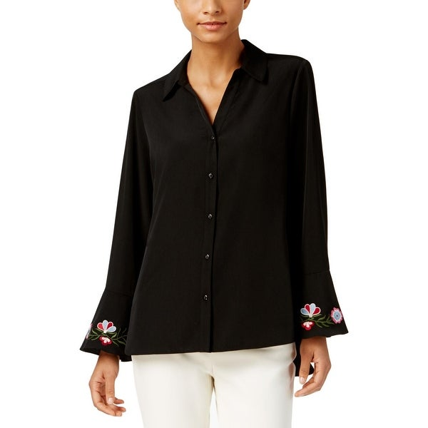 NY Collection Womens Blouse Embroidered Button-Down - XS