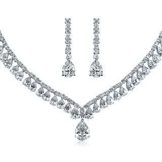 Bling Jewelry CZ Statement Bridal Necklace Earrings Set Rhodium Plated
