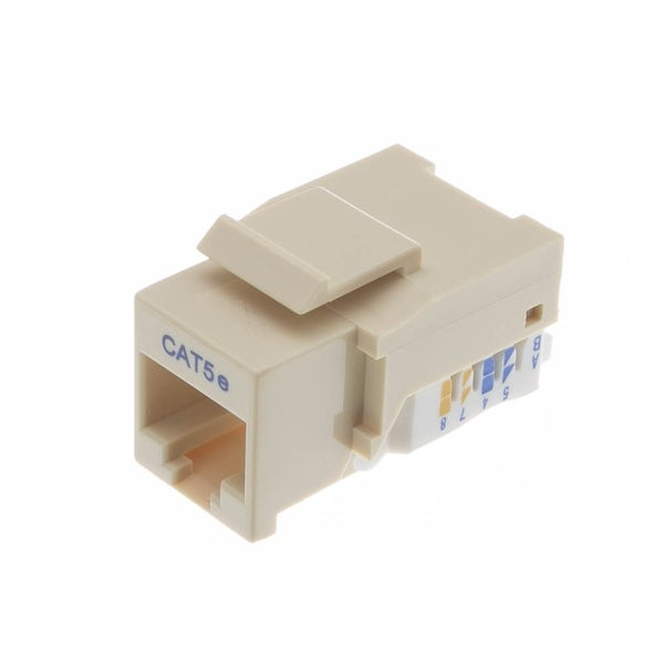 Offex Cat5e Keystone Jack, Beige/Ivory, Toolless, RJ45 Female