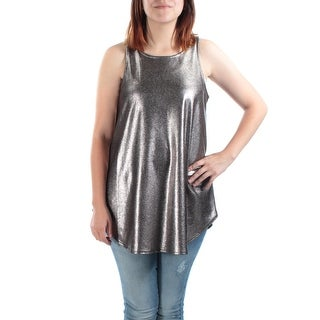 Womens Silver Animal Print Sleeveless Jewel Neck Casual Top Size L