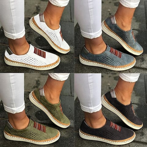 Perforated Slip-On Casual Sneakers In 5 Colors