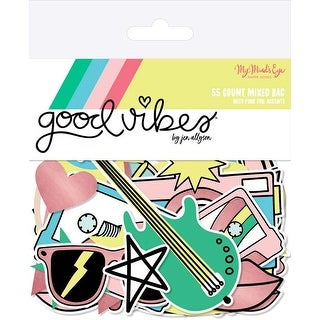 W/Pink Foil - Good Vibes Mixed Bag Cardstock Die-Cuts 55/Pkg