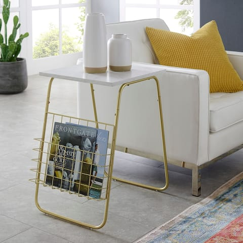 Silver Orchid 16-inch Modern Magazine Holder Side Table