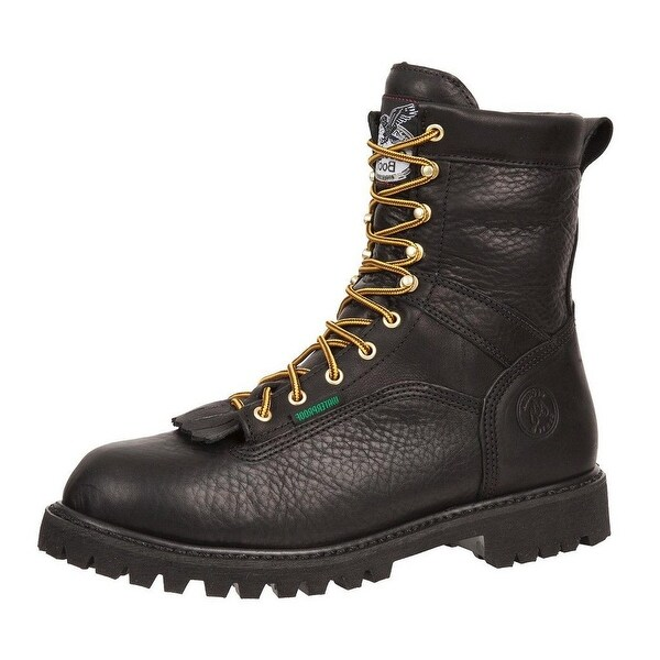 "Georgia Boot Work Mens 8"" Waterproof Goodyear Lace Logger Black"