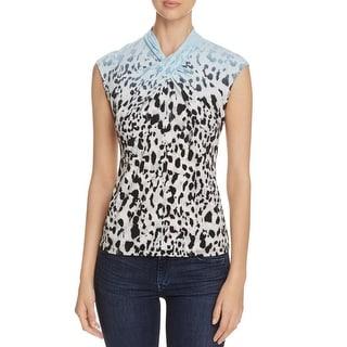 Calvin Klein Womens Pullover Top Animal Print Sleeveless