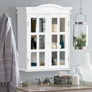 Wall-Mount Bathroom Storage Cabinet Medicine Organizer Double Doors Shelved New