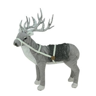 "15"" Winter Light Gray and White Standing Deer With Saddle Christmas Table Top Decoration"