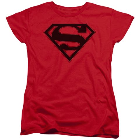 Superman Red & Black Shield Womens Short Sleeve Shirt