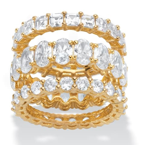 Yellow Gold Plated Cubic Zirconia 3 Piece Stackable Eternity Ring