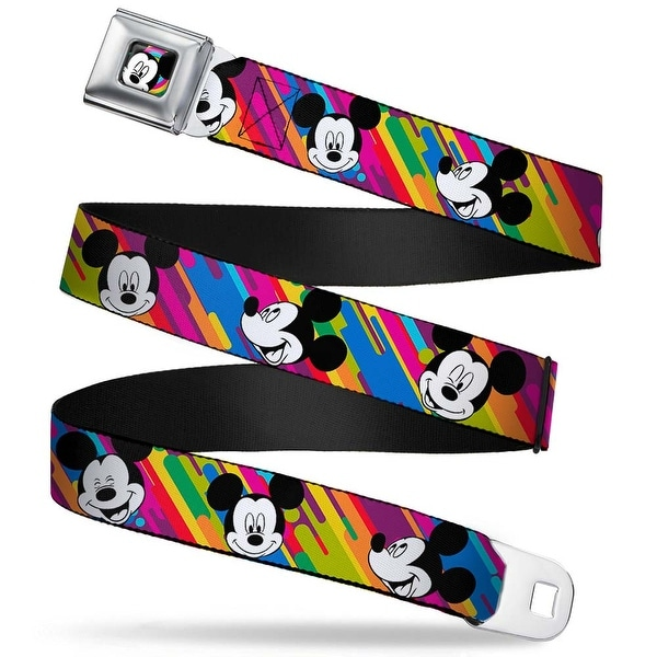 Mickey Mouse Winking Close Up Full Color Multi Color Black White Mickey Seatbelt Belt