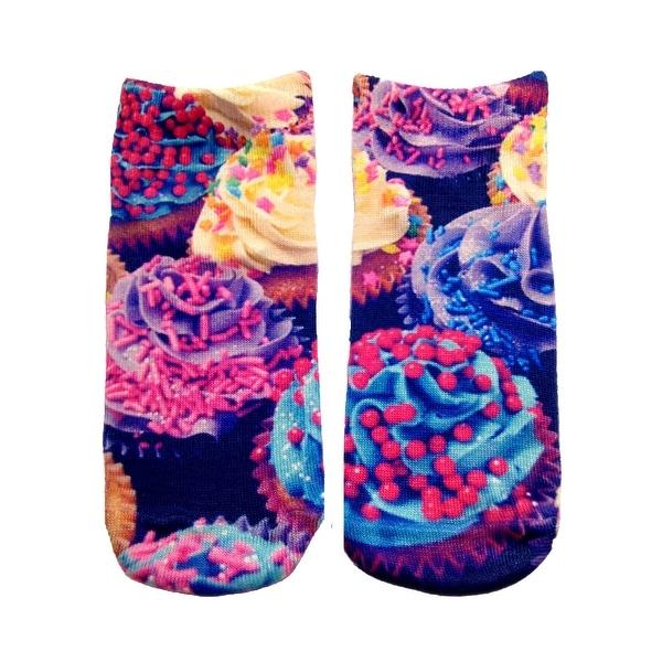 Cupcake Photo Print Ankle Socks - Purple