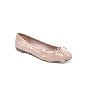 Gucci Nude Patent Leather Ballet Embossed Interlocking Flats Size 5